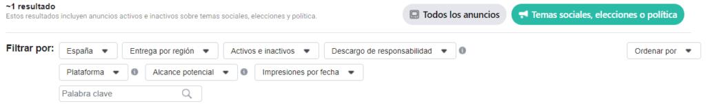 Filtros Biblioteca Anuncios Facebooks